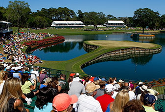 The famous island green at No. 17 on the TPC Sawgrass Stadium Course.