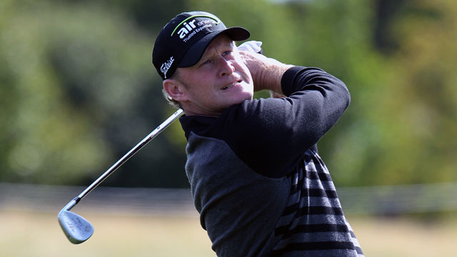 Jamie Donaldson plays his second shot on the 15th hole during the final round of the Czech Masters on Sunday.