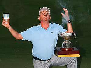 Spain's Miguel Angel Jimenez knows how to celebrate a victory.