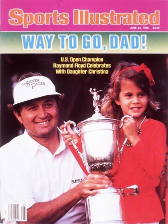 Raymond Floyd poses with his 6-year-old daughter Christina after winning the U.S. Open in 1986.