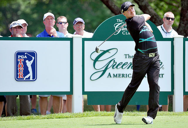 Jonas Blixt tees off on the ninth hole during his opening-round 64 at the Greenbrier Classic.