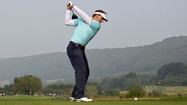 Joost Luiten tees off during the first round of the Wales Open at Celtic Manor.