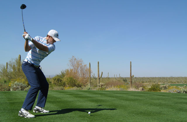 Jordan Spieth drives off the fifth tee during the WGC-Accenture Match Play Championship last month.