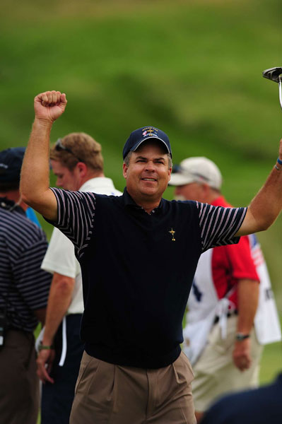 Kenny Perry celebrates a victory on Saturday during the 2008 Ryder Cup at Valhalla.
