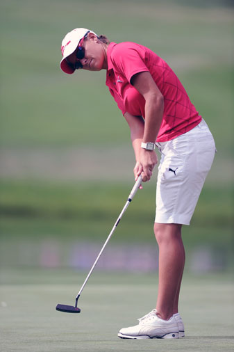 Lee-Ann Pace putts during the third round of the 2011 U.S. Women's Open.