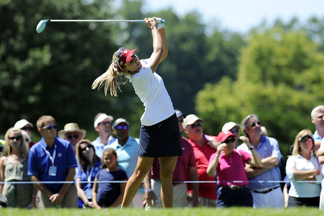 Lexi Thompson drives on the 16th hole during the second round of the International Crown.