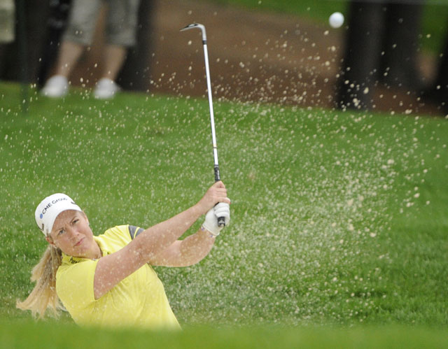Brittany Lincicome shot 1-under 71 to keep a one-shot lead at the LPGA Championship.
