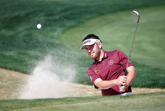 Louis Oosthuizen plays a shot on the 12th hole during his quarterfinal match.