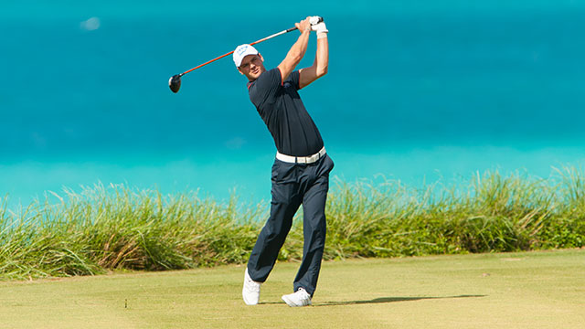 Martin Kaymer tees off on the 9th hole during the final round of the PGA Grand Slam in Bermuda.