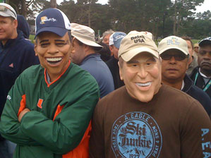 It was the Presidents Cup, so naturally Barack Obama and George Bush decided to take in the action at Harding Park.