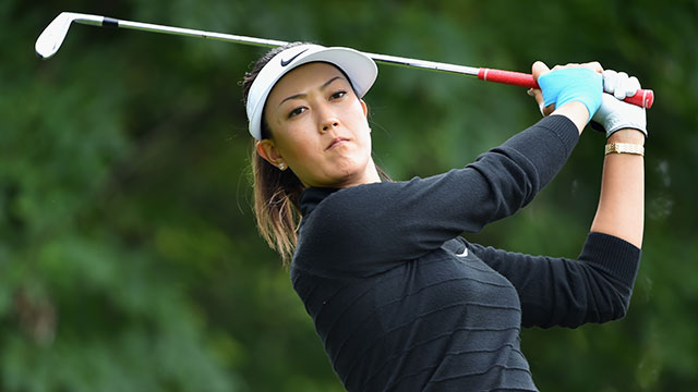 Michelle Wie plays a shot during the pro-am prior to the start of the Evian Championship.
