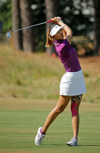 Michelle Wie leads the Women's U.S. Open by three shots over Lexi Thompson after two rounds.