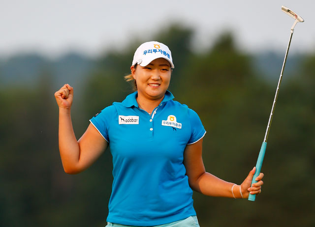 Mirim Lee celebrates winning the Meijer LPGA Classic on the second playoff hole against Inbee Park.