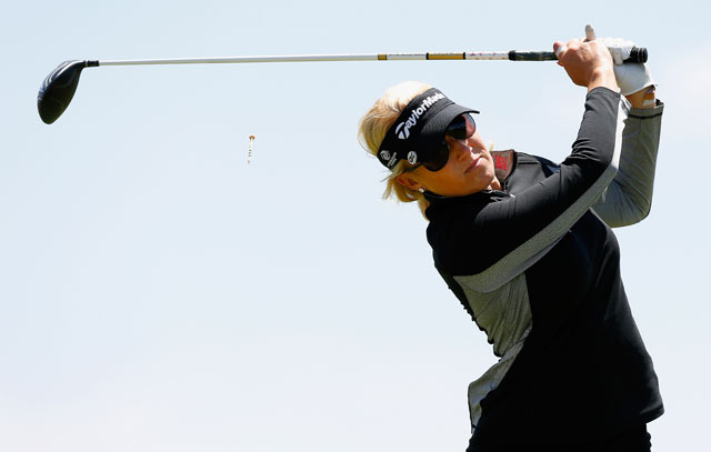 Natalie Gulbis hits a tee shot during the second round of the LPGA Shootout.