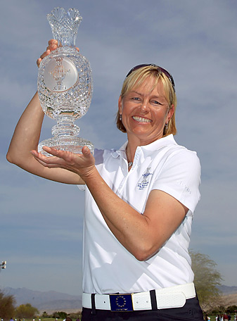Liselotte Neumann, shown here with the Solheim Cup in 2009 when she was an assistant captain, will be the European captain in 2013.