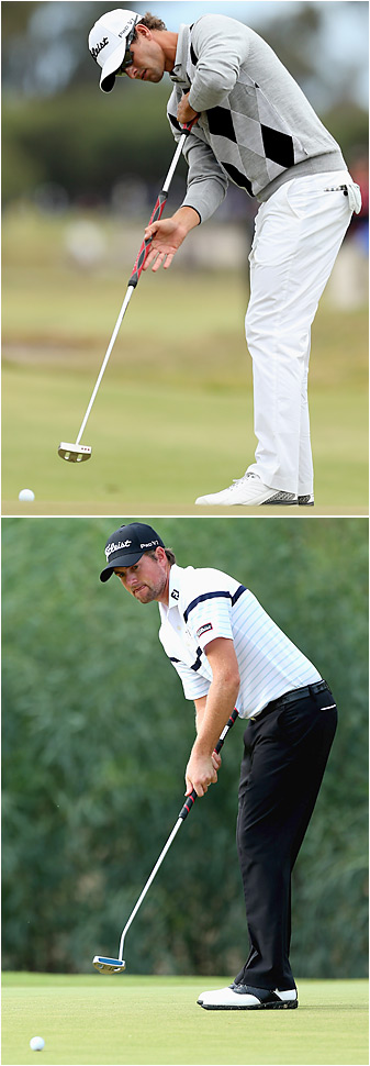Adam Scott (above) and Webb Simpson have different approaches -- and lengths -- on their long putters. Both players will be affected by the R&A's ruling.