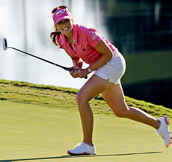 Paula Creamer had several birdie putts to win the playoff -- but the event will be settled on Monday morning.