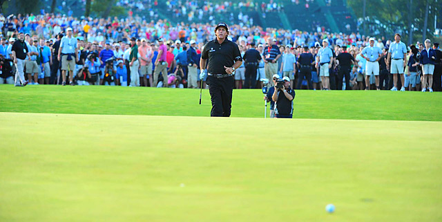 The final shot: Mickelson's desperate birdie chip on 18 rolled past the hole, sealing his sixth runner-up finish at the U.S. Open.