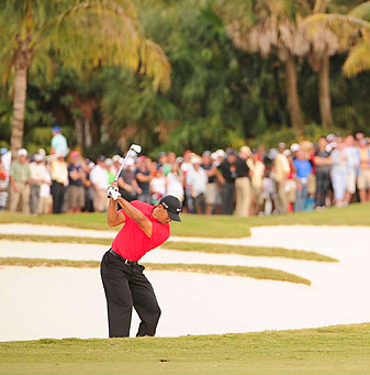 After three days of birdies, Tiger Woods shot a methodical 71 in tough conditions on Sunday to win by two shots.