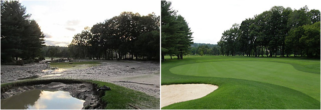 The fourth hole at the Quechee Club's Lakeland course after Irene (left), and one year later.