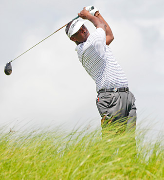 Vijay Singh shot a 69 in windy conditions on Friday.