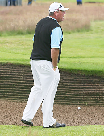 Marc Calcavecchia has handled Lytham's 206 bunkers well enough to make the cut.