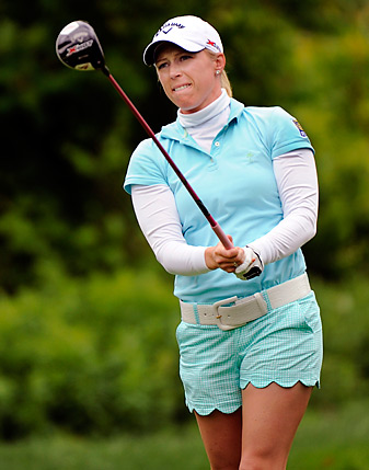 Morgan Pressel was hit with a controversial slow-play penalty at the LPGA Match Play.