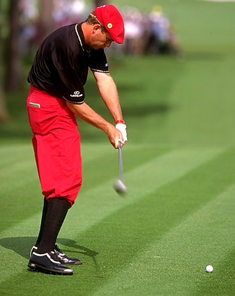 "Payne Stewart hitting the ""power slot"" on his downswing."