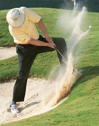 Swing down hard—if you don't take a lot of sand, you won't unplug the ball.
