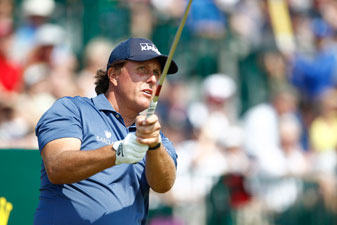 Phil Mickelson finished his wild second round with a birdie. He's even par headed to the weekend.