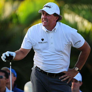 Belly up: Mickelson's color choices emphasized his midsection.