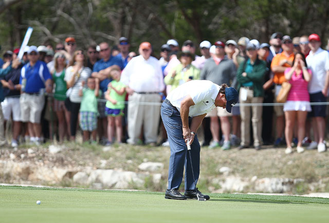 Phil Mickelson reacts after missing his putt on the 12th hole during the third round of the Valero Texas Open.