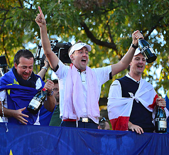 Ian Poulter (center) celebrated with his teammates after Europe's improbable comeback on Sunday at the Ryder Cup.