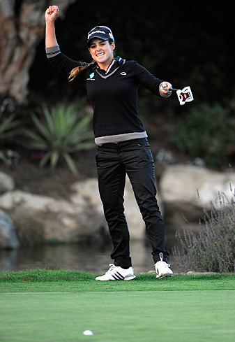 Beatriz Recari celebrated as her winning putt dropped in the playoff.