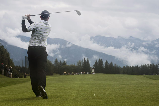 Richie Ramsay watches his tee shot at the seventh hole during the second round of the Omega European Masters.