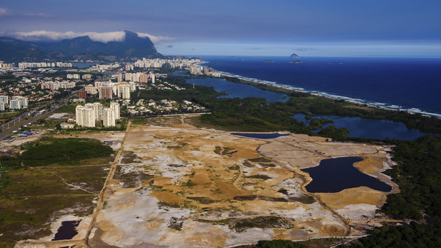 An aerial view of the site of the Olympic golf course taken on Nov. 9, 2013, the 1,000th day before the Rio 2016 Olympic Games.