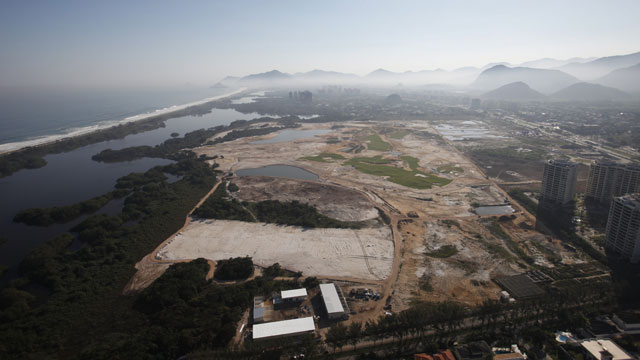 An aerial photo of the golf course under construction for the 2016 Olympics in Rio de Janeiro taken on August 22.