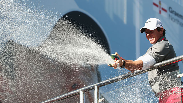Rory McIlroy celebrates his come-from-behind victory at the BMW PGA Championship.