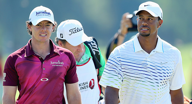 They'll meet again: Rory McIlroy and Tiger Woods, shown here at the Turkish Airlines World Golf Final in October, will play together in the first two rounds in Abu Dhabi.
