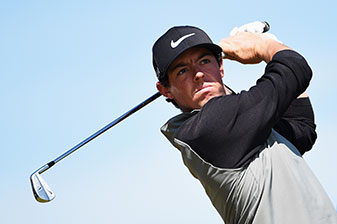 Rory McIlroy tees off during a practice round prior to the start of the 143rd Open Championship.