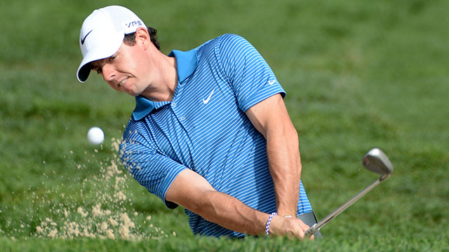 Rory McIlroy chips out of a bunker during the pro am event prior to start of The Barclays at Ridgewood Country Club.