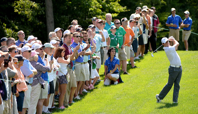 Rory McIlroy plays the pro-am prior to the Deutsche Bank Championship.