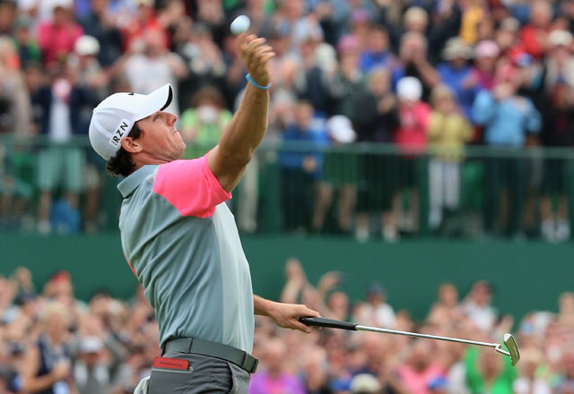 Lee Horner of Leeds, England, was on the other end of this throw from Rory McIlroy at Royal Liverpool.
