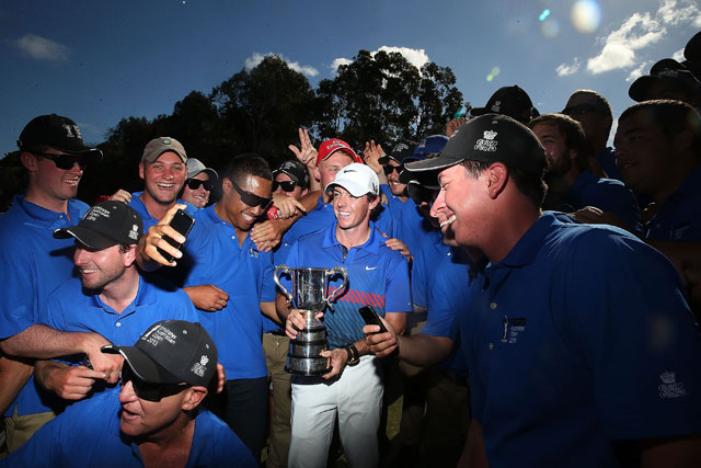 Rory McIlroy celebrates with the Australian Open trophy last December in Sydney, Australia.