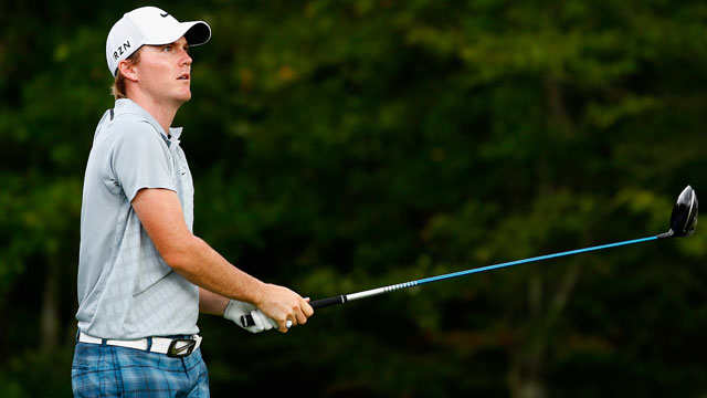 Russell Henley tees off on the 14th hole during the third round of the Deutsche Bank Championship.