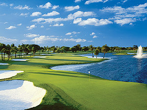The most famous hole in town: the 18th at Doral's Blue Monster.