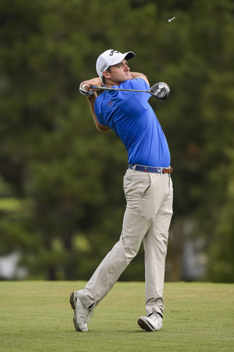 Sam Saunders tees off during the second round of the Web.com Tour Finals.