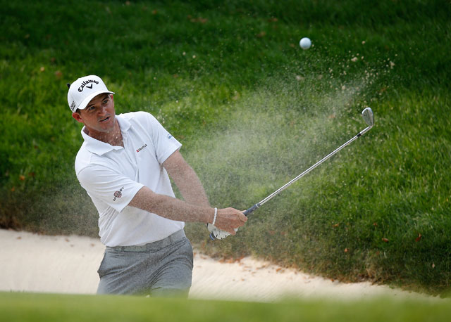 Sam Saunders leads the Web.com Tour Hotel Fitness Championship by two shots.