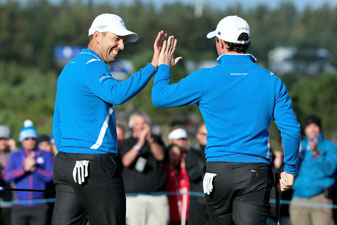 Down two with two holes to play, Sergio Garcia and Rory McIlroy halved their match with Rickie Fowler and Jimmy Walker.