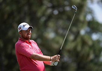 Shane Lowry watches his shot during a practice round prior to the start of the 2014 U.S. Open.